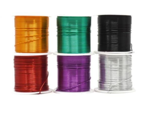 Alt: Six rolls of floral wire spools on a white background with different colors
